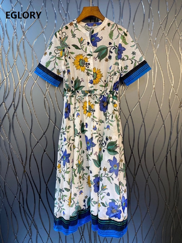 High Quality Summer Dress 2020 Fashion Style Women Runway Print Tunic Button Short Sleeve Casual Blue White Color Block Dress