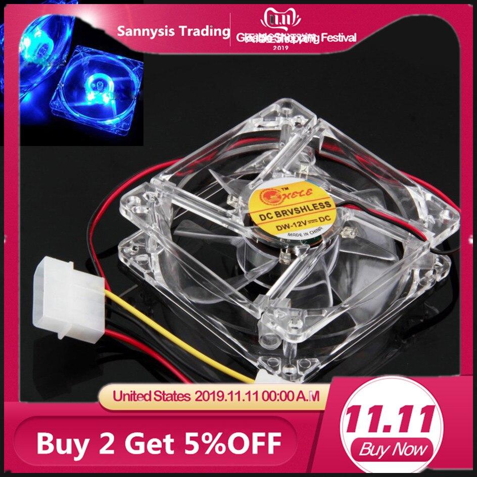 80mm ventilateur refroidisseur PC ventilateur cpu ventilateur de refroidissement bleu Quad 4-lumière LED néon clair 80mm PC ventilateur Mod pour carte vidéo tampon thermique livraison directe