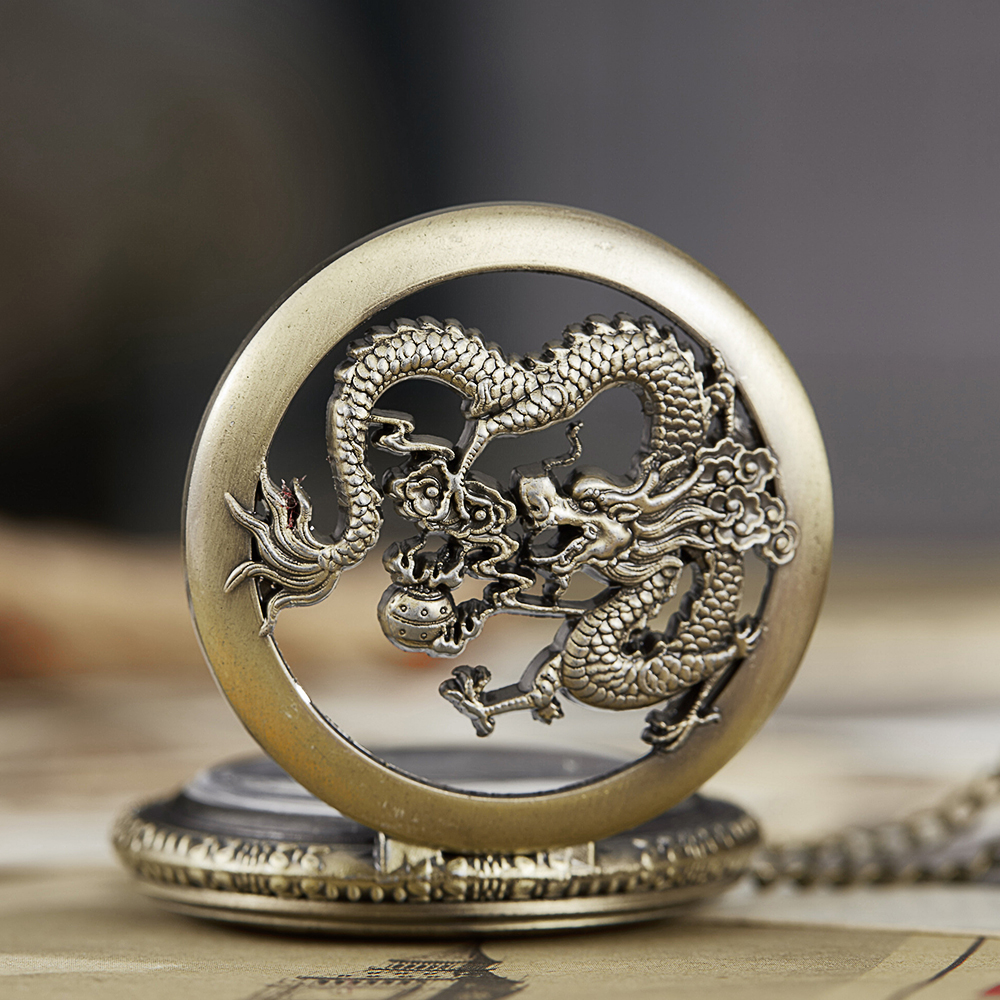 Vintage Pocket Watch Dragon Play Pearl Ball Engrave Hollow Flip Fob Watch Chain Mens Necklace Watch Lucky Holy Dragons Clocks