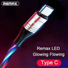 Remax LED Glowing flowing luminous Cable Type C USB Data Fast Charging for Samsung Galaxy s8 s9 a7 a50 s10 c5 c7 j3 pro