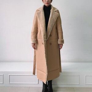 Image 5 - EI BAWN 2020 kış hakiki deri ceket koyun derisi haki uzun ceket Shearling ceket kemer sıcak kuzu koyun kürk dış giyim palto