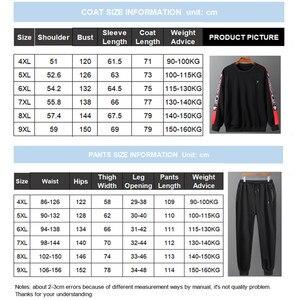 Image 5 - Eşofman erkekler artı boyutu 6XL 7XL 8XL 9XL 2 parça eşofman giysileri erkek spor takımları seti kazak ceket Mens ter parça takım elbise