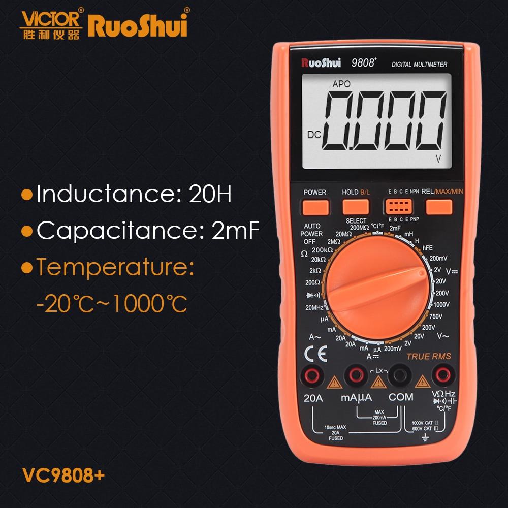 RuoShui-multímetro digital de alta precisión 9808 +, medidor de capacitancia 2000uF, frecuencia de 20MHz, medición de temperatura e inducción con LCR