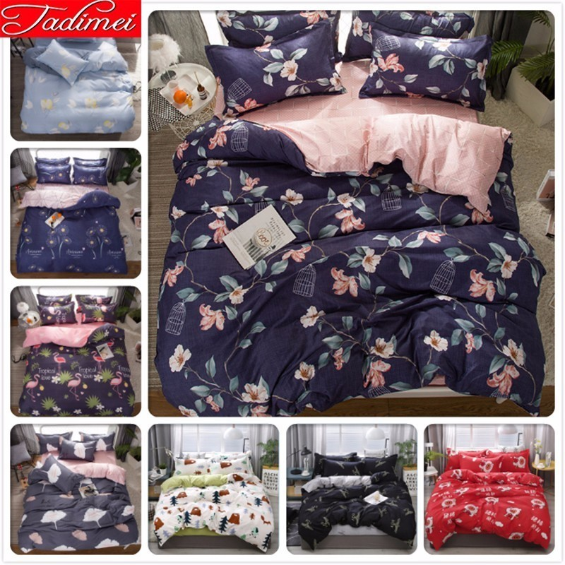 3/4 Pcs Bedding Set Single Twin Full Queen Double King Size Duvet Cover Adult Kids Soft Cotton Bed Linen High Quality Bedspreads