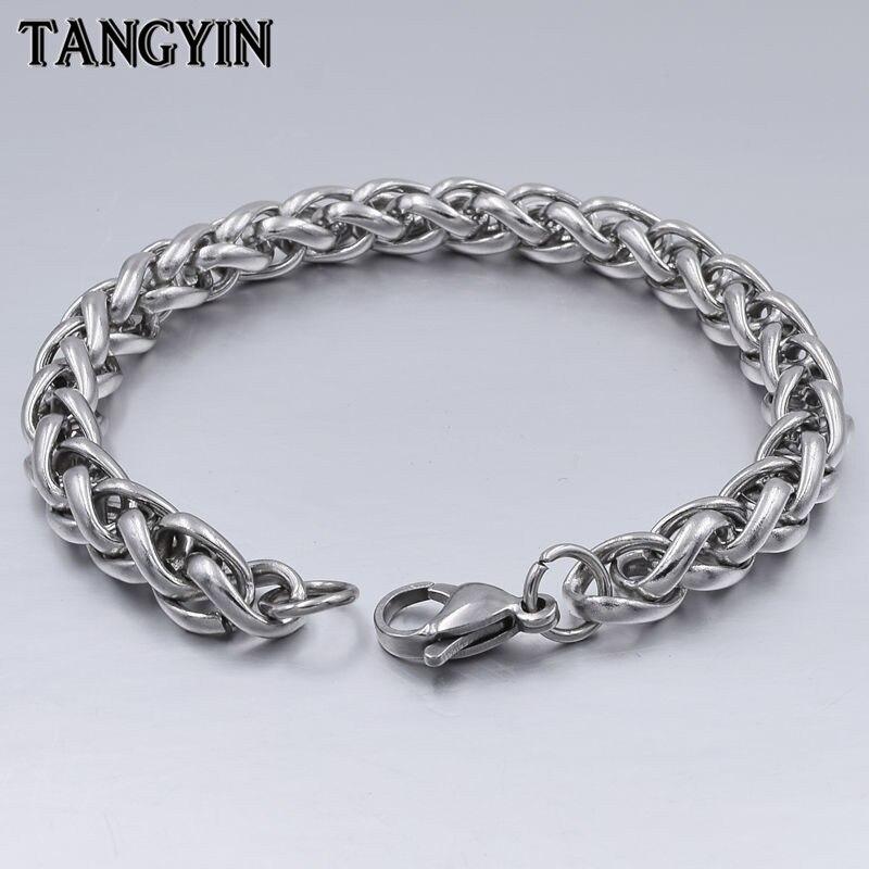 High Quality Men Titanium Steel Bracelet Silver Link Chain Bracelets for Women Male Stainless Steel Hand Jewelry 3MM/4MM/5MM/6MM
