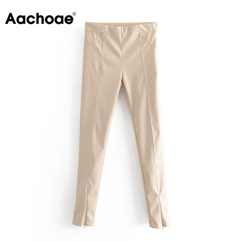 Aachoae Women Stylish PU Faux Leather Stretch Pants 2020 Solid High Waist Ladies Pencil Trousers Full Length Streetwear Bottoms