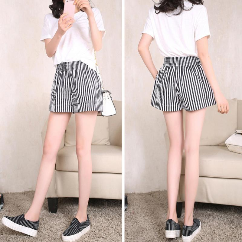Zogaa Summer Women Shorts Office Lady Loose Black White Vertical Striped High Waist Shorts Casual Loose Fashion Hot Shorts Lady