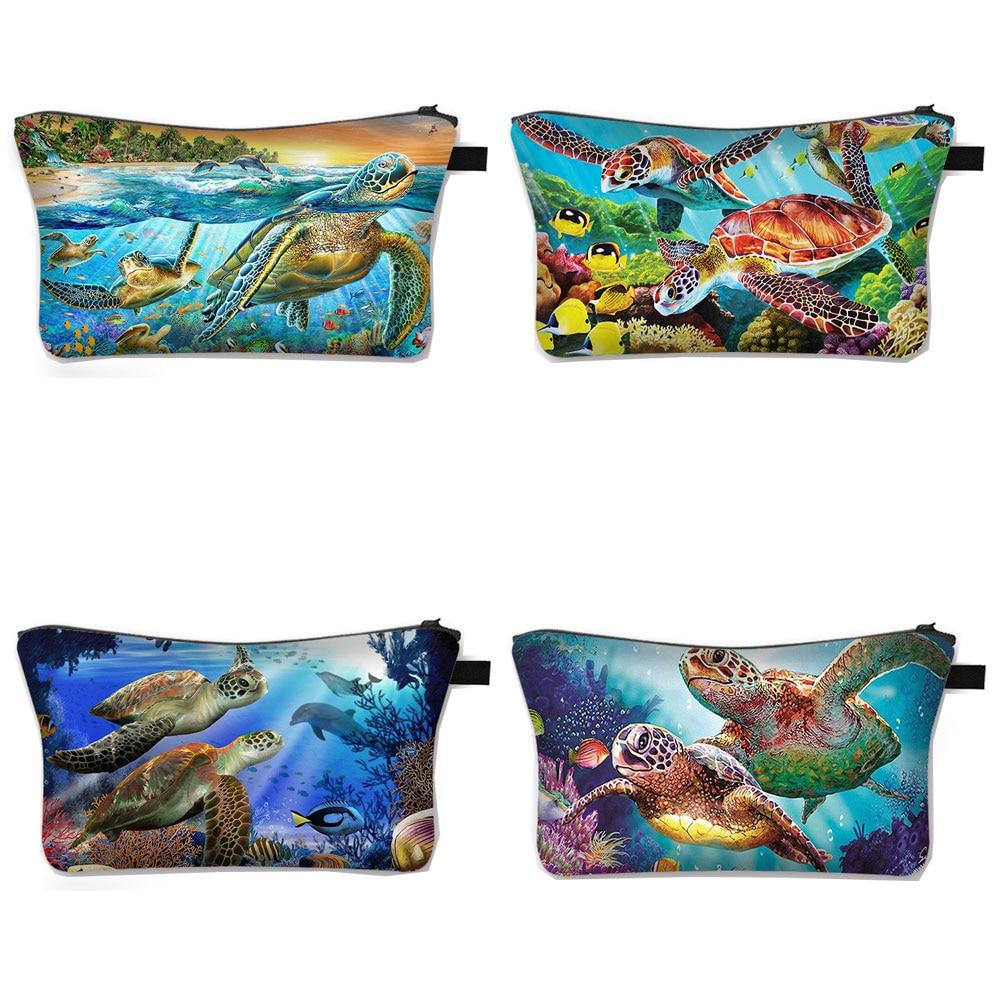 Cute Sea Turtle Cosmetic Bag Women Makeup Travel Bags Ladies Cosmetic Case Canvas Storage Bag Make Up Organizer Bags