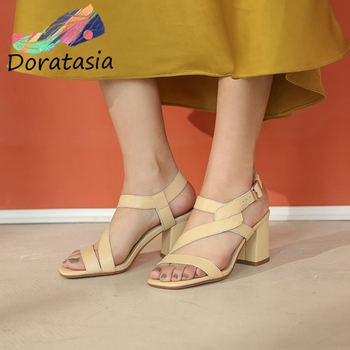 DORATASIA Elegant Lady Sandals Square Toe High Heels Buckle Strap Sandals Women 2020 Brand Solid Casual Summer Shoes Woman