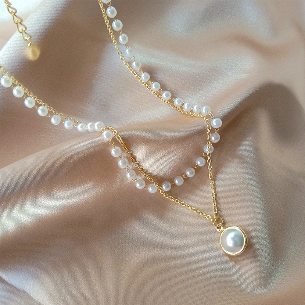 SUMENG 2021 New Fashion Kpop Pearl Choker Necklace Cute Double Layer Chain Pendant For Women Jewelry Girl Gift