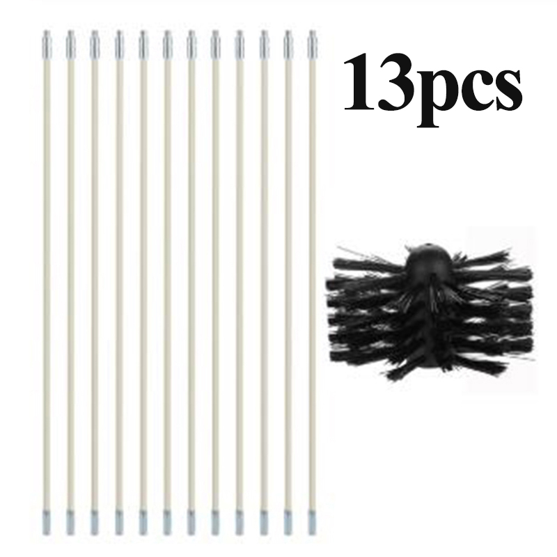 Chimney Cleaner Boiler Brush Set Cleaner Rotary Sweep System Fireplace Kit Rod Cleaning Tool Set image