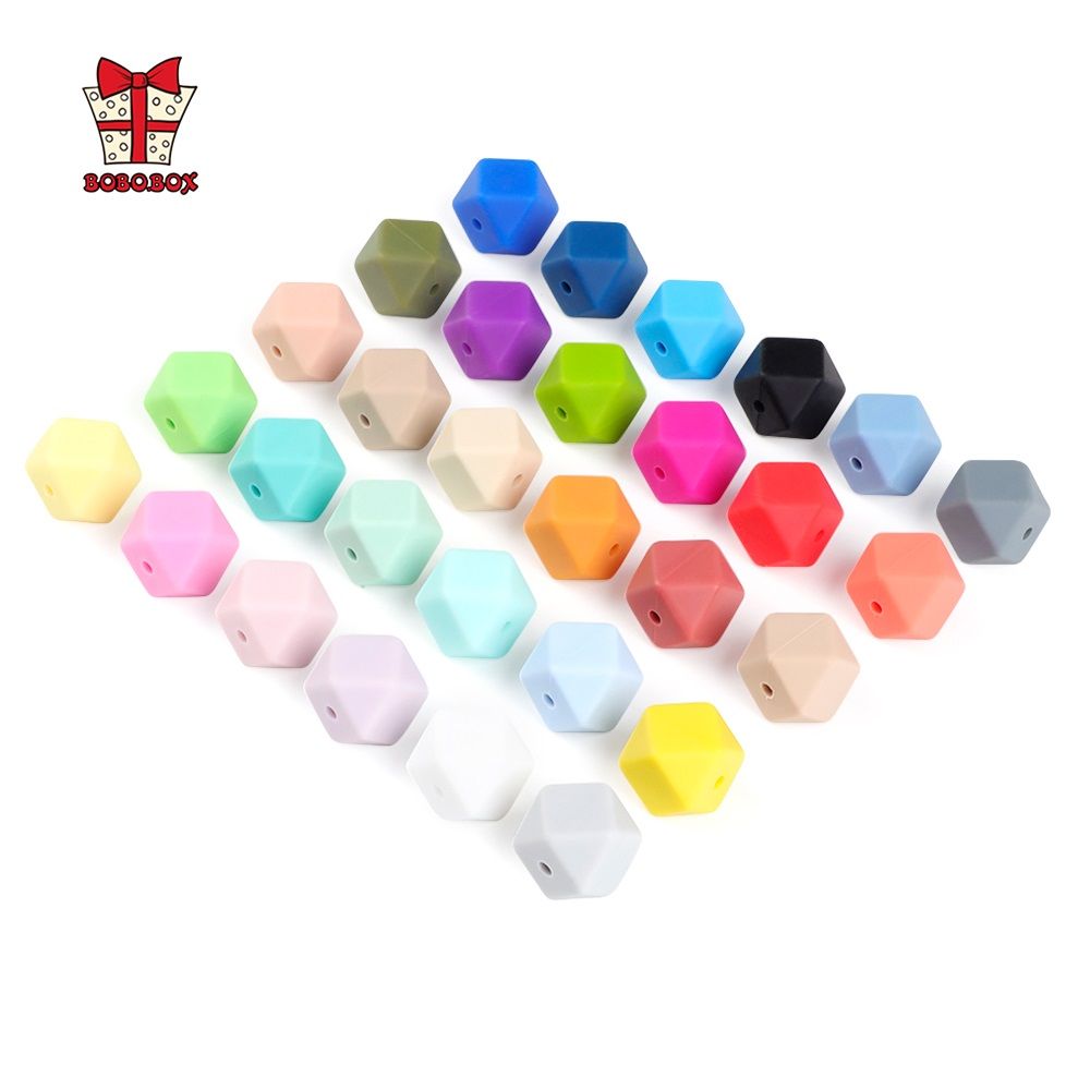 BOBO.BOX 10pcs Hexagon Silicone Beads 14mm Food Grade Baby Teether BPA Free DIY Necklace Pacifier Chain Baby Teething Care Gift