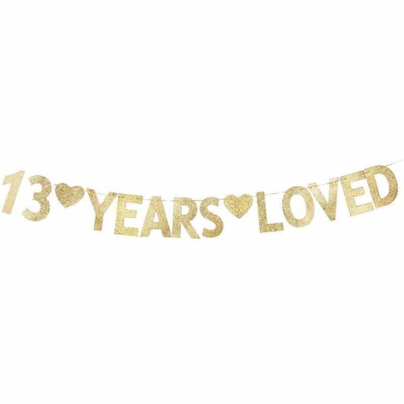 Letrero de papel Gliter dorado pancarta de amor de 13 años para decoración de aniversario de bodas y fiesta de 13 cumpleaños Nuevo Bebé niñas lentejuelas capas volantes vestido recién nacido chico encaje princesa Vestidos bebé niñas cumpleaños fiesta Vestidos verano Vestidos