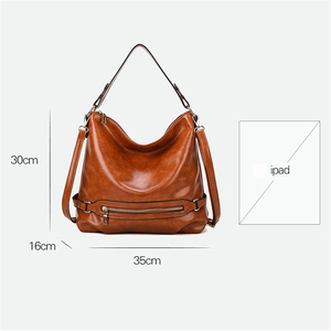Image 4 - Vintage Bolsas Oil Leather Handbags Ladies Hand Bags for Women 2019 Luxury Handbags Women Bags Designer Casual Tote Sac A Main