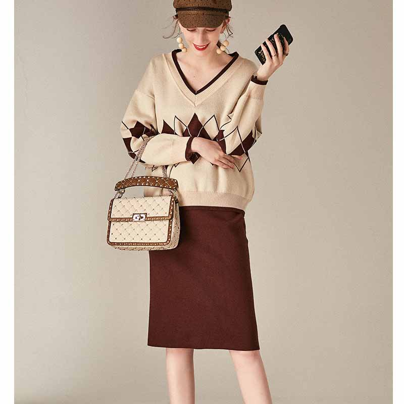 WOMEN'S Dress 2019 New Style Thread V-neck Geometric Pattern Knitted Jacket + High-waisted Straight-Cut Skirt Set Europe And Ame
