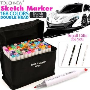 Image 1 - TOUCHNEW juego de marcadores artísticos de doble punta, 30/40/60/80 colores, marcadores a base de Alcohol para dibujo artesanal, suministros de rotuladores de diseño