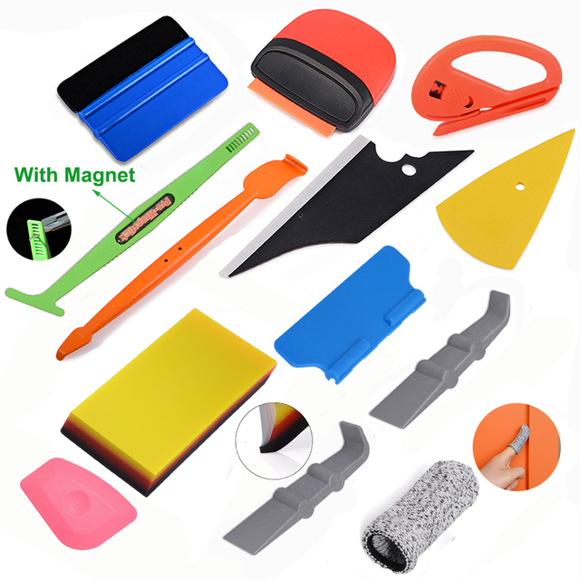 FOSHIO Carbon Film Vinyl Wrapping Application Tool Set Window Tint Car Sticker Install Aid Mark Scraper Knife Magnet Squeegee