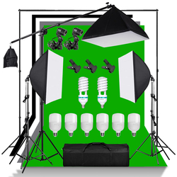 Photography Softbox Lighting Kit Continuous Lights Photo Equipment Studio Accessories Cantilever Frame Support System Backdrop