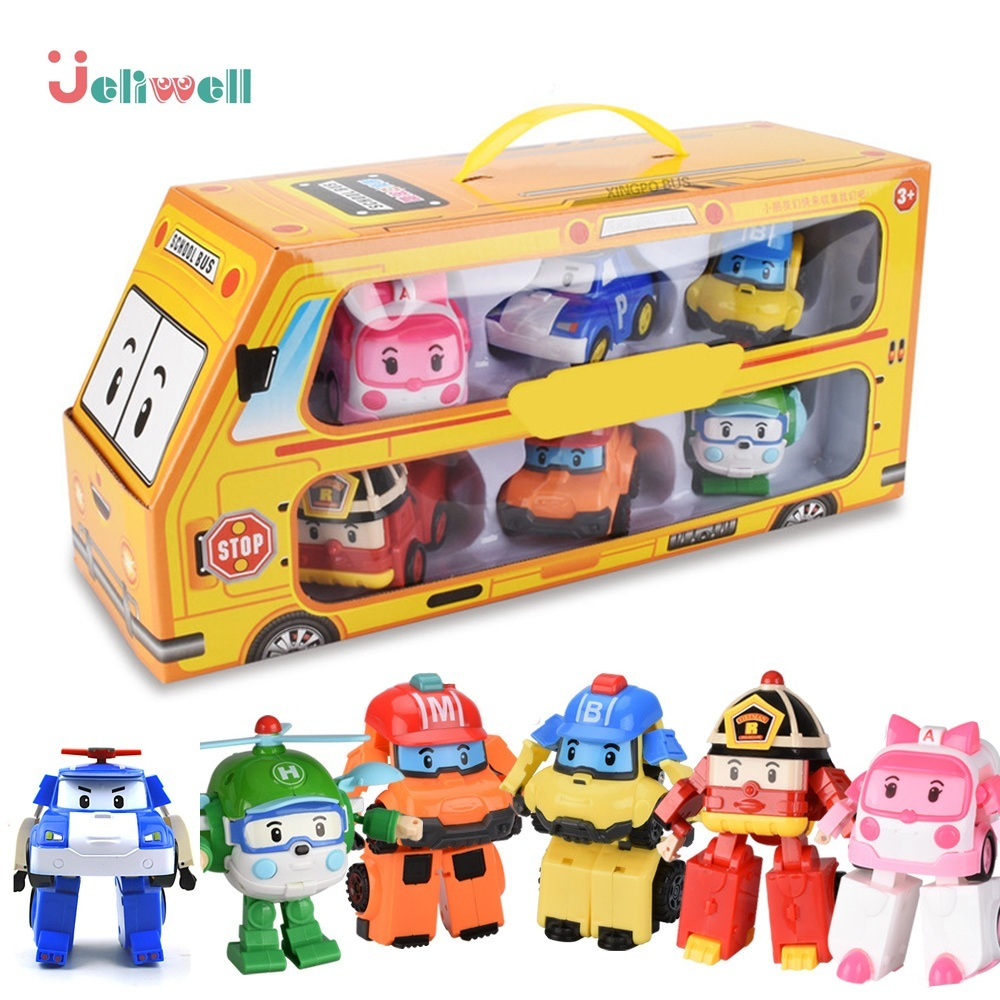 ROBOCAR POLI    A Batch Of 6 Polished Children's Toys, Robot Transformers, Cartoon Cartoon Cartoons, Toys, Children's Gifts