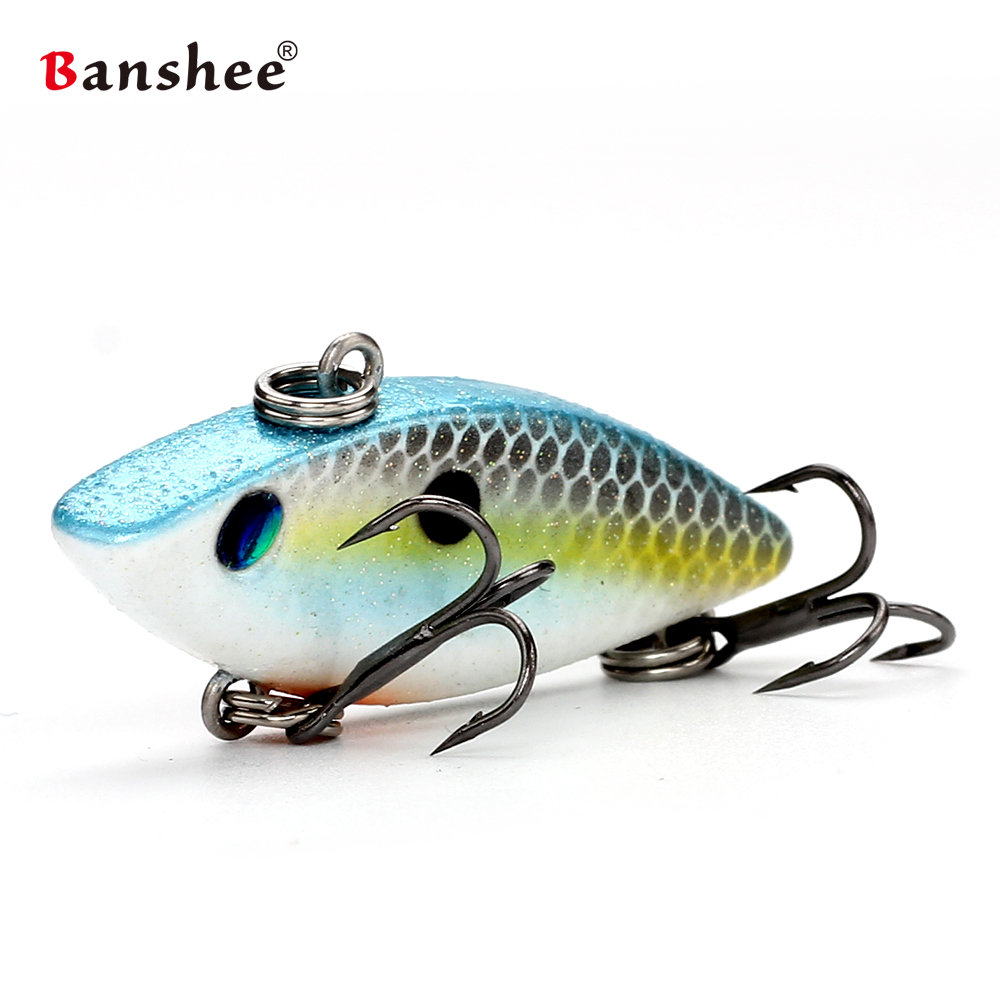Banshee 40mm 4.5g Crankbait Mini Vib Bait Fishing Lure Lipless Rattle Hard Bait Artificial Sinking Wobbler For Fishing Tackle