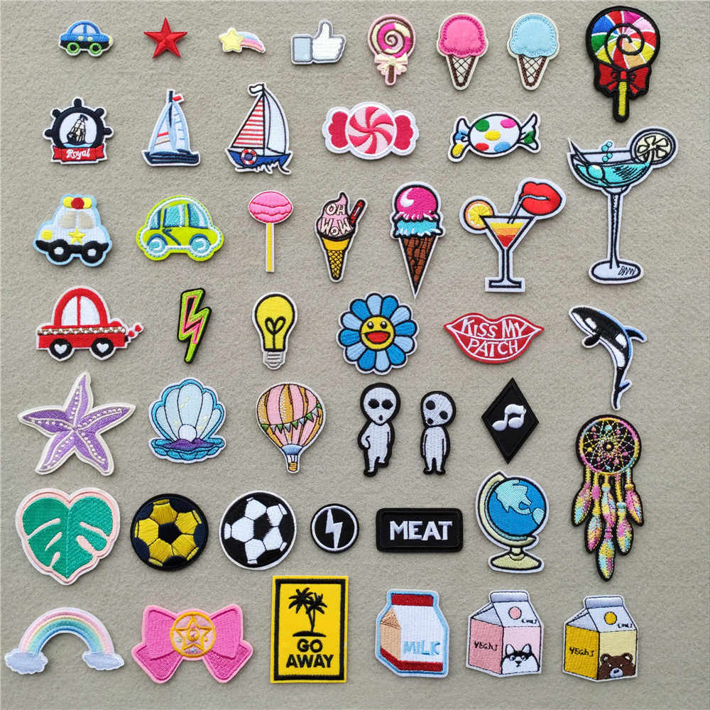 (46 Stijlen) ijs Ijzer Op Patches Voor Kleding Cartoon Cars Stickers Strepen Applicaties Op Kleding Borduren Zeilboot Badges