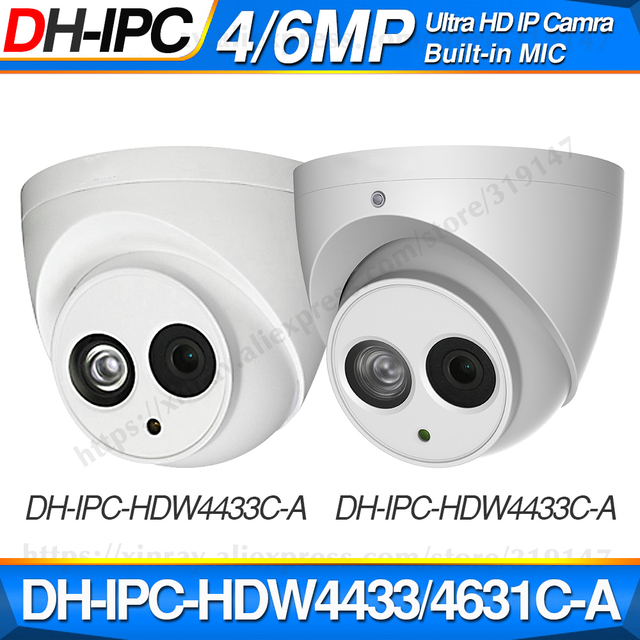 Dahua IPC HDW4433C A IPC HDW4631C A 4MP 6MP réseau IP caméra CCTV POE CCTV sécurité intégré micro 30M IR WDR H.265 Onvif