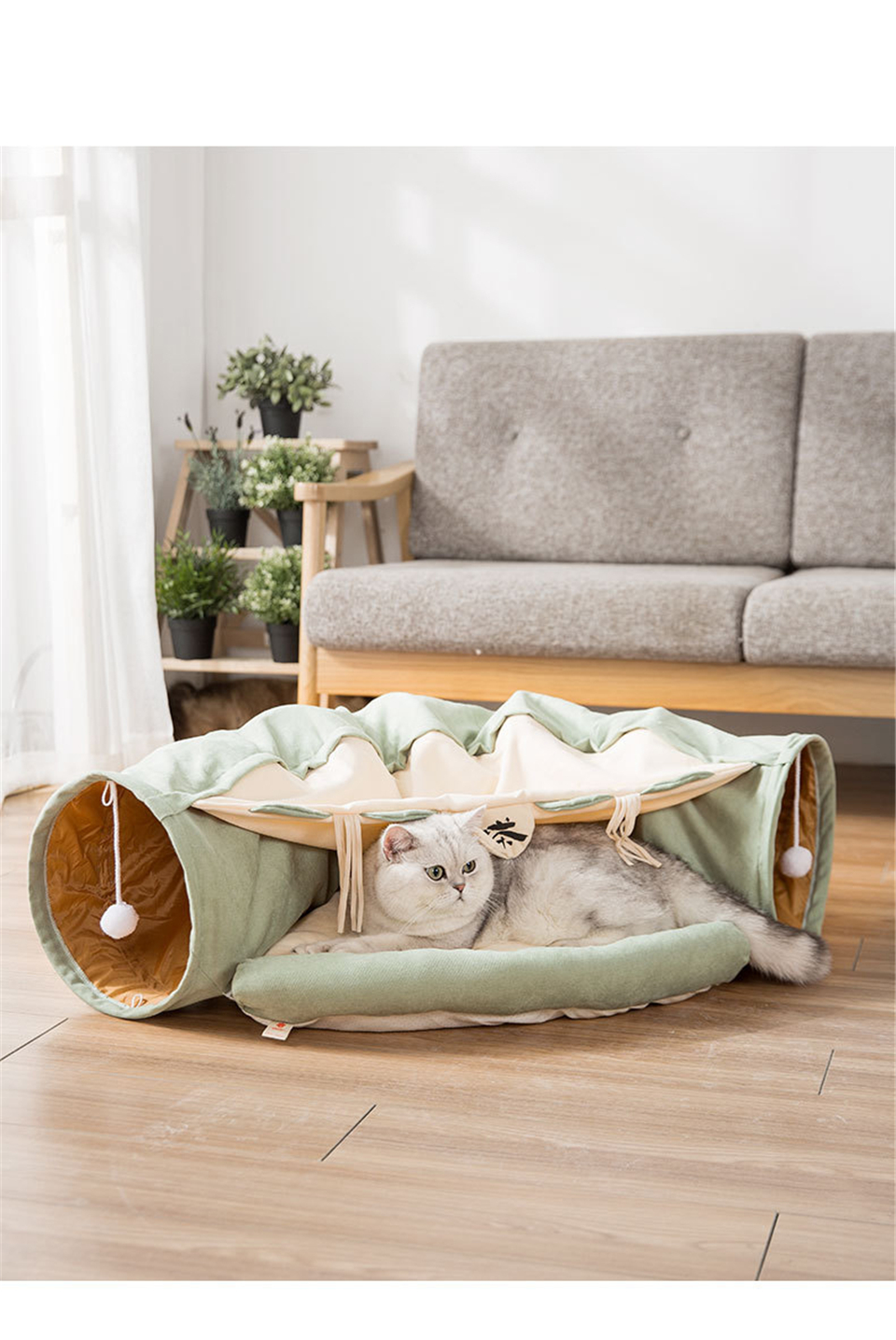 Funny Cat Tunnel bed Collapsible Crinkle Pet tent Kitten Puppy  Ferrets Rabbit interactive Toys 2 holes Tunnel  Pet cat nest 8