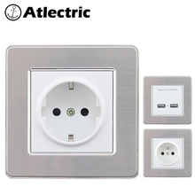 Atlectric EU FR Standard Wall Power Socket Dual USB Port Socket Power Adapter For Mobile Stainless Steel Panel Outlet Plug