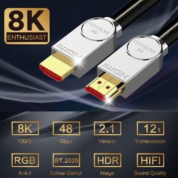 Do kabla HDMI 2.1 kabel ultra-hd (UHD) 8K MOSHOU HDMI 2.1 48Gbs z przewodem Audio i Ethernet HDMI 1M 2M 5M 10M 15M 20M HDR 4:4:4