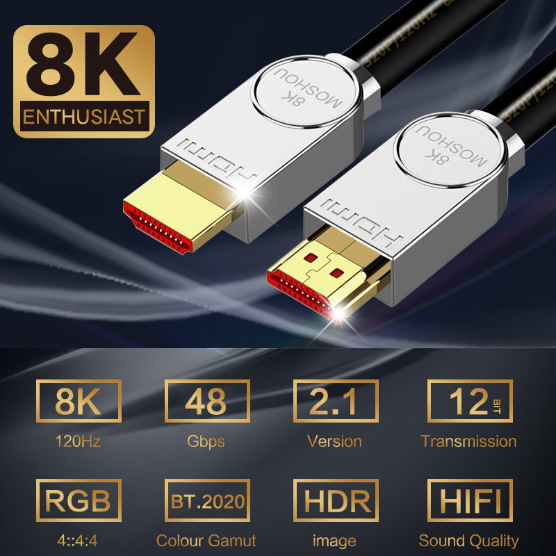 For HDMI 2.1 Cable Ultra-HD (UHD) 8K MOSHOU 48Gbs with Audio & Ethernet Cord 1M 2M 5M 10M 15M 20M HDR 4:4:4
