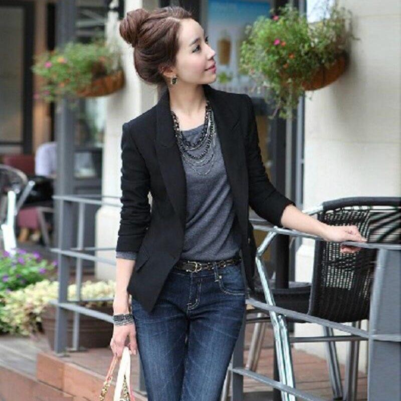 Spring Autumn Blazer Women Fashion Slim Short Suit Jacket Coat Long Sleeve Outwear Black One Button Suit Lady Blazers Work Wear