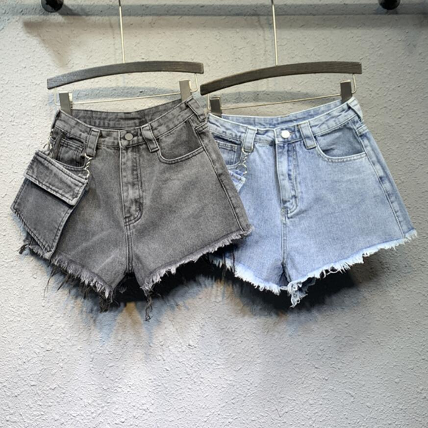 Smoke Gray Denim Shorts Women High Waist 2020 New Spring Removable Large Pocket A Word Wide Leg Jeans Shorts