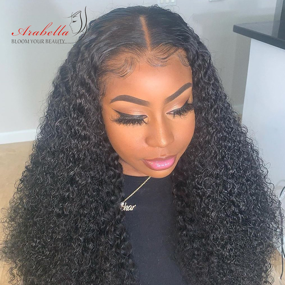 Jerry Curly Wig 100%  Closure Wig With Baby Hair Pre Plucked Arabella  4*4 Closure Wig Curly  Wig 1