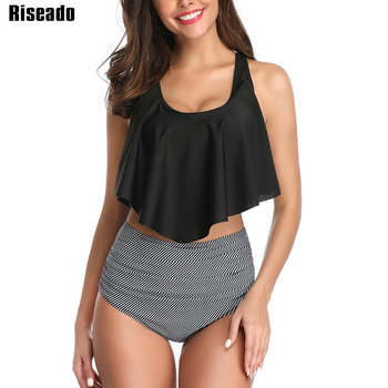 цена на Riseado Striped Swimsuits Ruffled Bikini Set High Waist Swimwear Strap Swimming Suit For Women 2020 New Sexy Bathing Suit