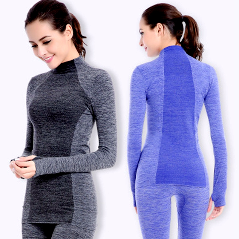 New Thermal Skiing Underwear Set Women Winter Tracksuit Fast Dry High Elastic Long Underwear Heat Warm Two Piece Set