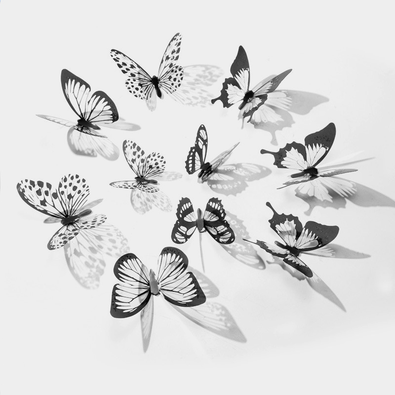 18pcs 3D Crystal Butterfly Stickers Home Decorative Butterflies with Diamond Kids room Living room Bedroom Art DIY Wall Decals