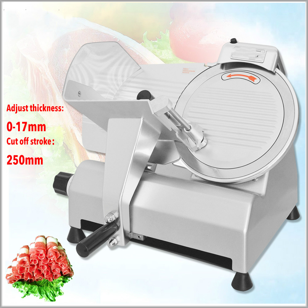 2020  Electric Meat Slicer Frozen Meat Slicer Cutting Meat Machine Semi-automatic Beef/Lamb Slice Machine 10 Inch Slicing Maker