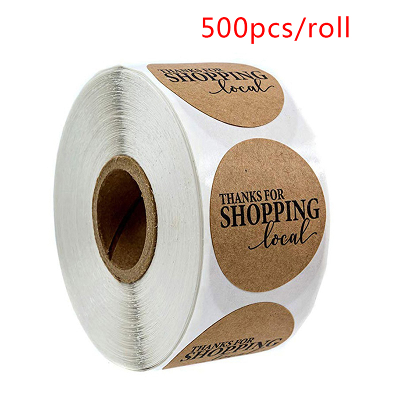 Stickers Seal-Labels Kraft-Paper Thanks Custom 500pcs for Local-Stationery