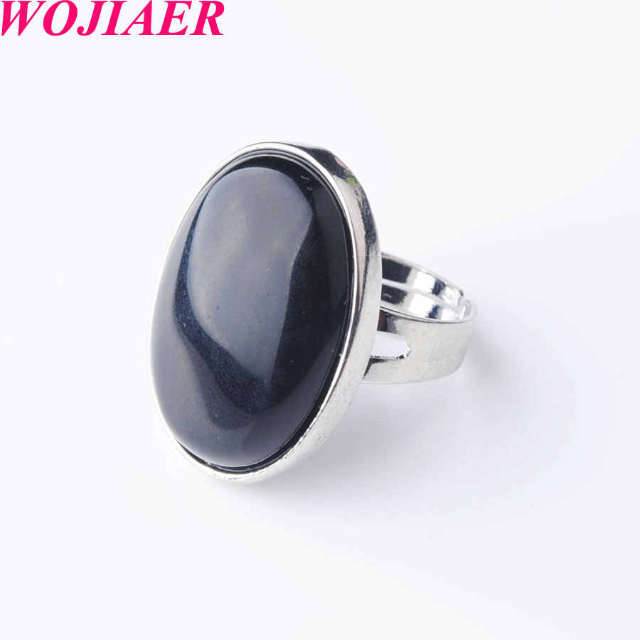 オーバル自然な黒瑪瑙宝石の石の指輪男性のための女性パーティーリングジュエリー WOJIAER PX8004
