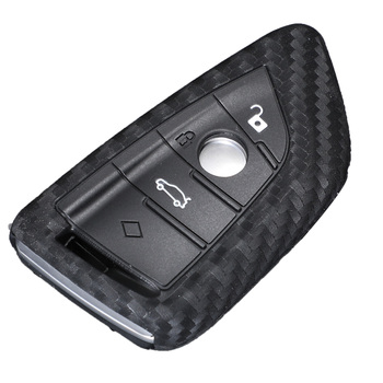 Bilchave Carbon Fiber Silicone Remote Car Key Case Cover Fob For BMW X5 X6 F16 F15 5 Series 2014- Car-Styling Holde image