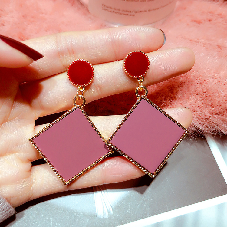 Korean Earrings Square Statement Geometric Quadrilateral Dangle Drop For Women 2019 Fashion Crystal Jewelry Wholesale