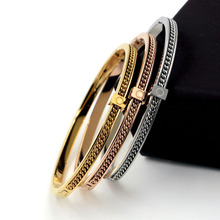 Fashion Rose Gold Bangle Bracelet for Women Chain Titanium Steel Jewelry