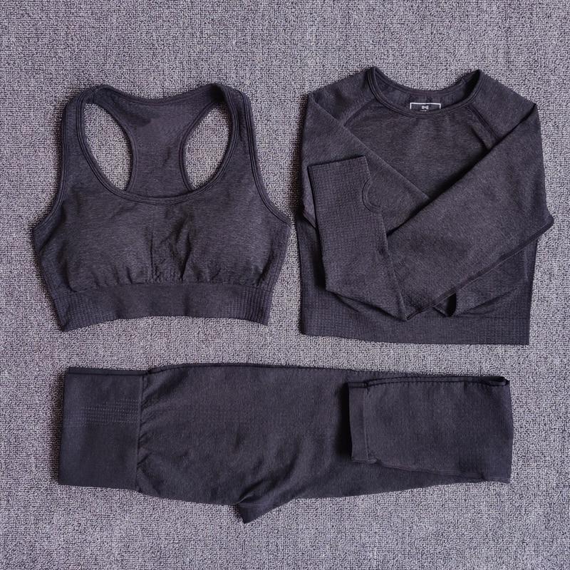 3pcsSetBlack - Women Seamless Yoga Set Fitness Sports Suits