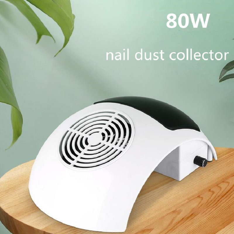 80W Manicure Vacuum Cleaner Low Noise Strong Suction Nail Dust Collector Salon Tool With Rubber Hand Pad