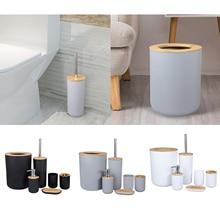 6-Piece Bathroom Set Accessories Lotion Dispenser Soap Tray Toilet Brush Holder Trash Bin
