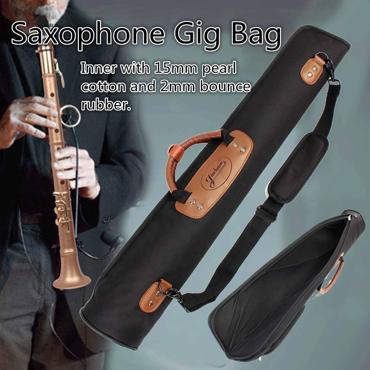 Saxophone Bag Case Oxford Cloth Clarinet Oboe Straight Saxophone Sax Clarinet Bag Case Thicken Padded Foam Black