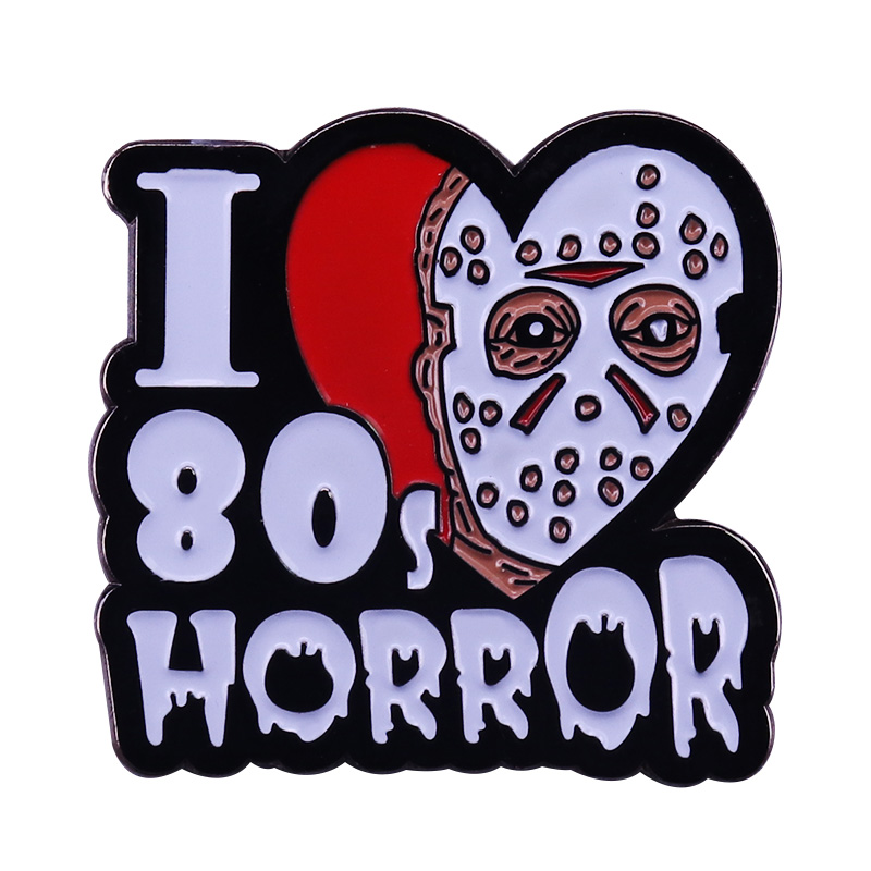 I love 80s horror enamel pin Friday the 13th retro horror movie fans perfect collection image