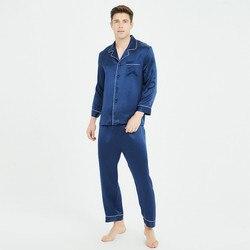 الرجال 100% بيجامة من الحرير دعوى بدوره إلى أسفل طوق بلوزات و السراويل مجموعة النوم رجل ملابس نوم عادية 2020 ربيع جديد المنزل الملابس مع زر