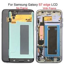 Siyah altın süper AMOLED için 5.5 yedek SAMSUNG Galaxy S7 kenar G935 G935F LCD ekran Digitizer meclisi ile çerçeve
