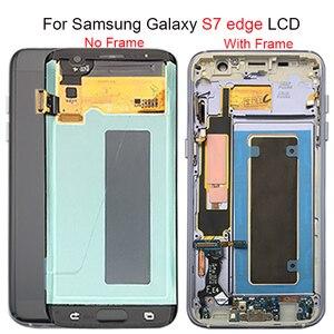 Image 1 - Siyah altın süper AMOLED için 5.5 yedek SAMSUNG Galaxy S7 kenar G935 G935F LCD ekran Digitizer meclisi ile çerçeve
